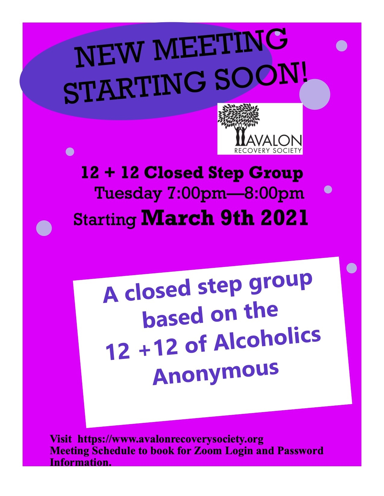Pink Poster with a new meeting starting soon - Alcoholics Anonymous Meeting